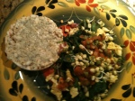 veggie scramble with brown rice cake and healthy creamy garlic spread